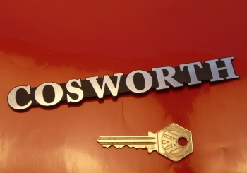 "Cosworth Text Style Laser Cut Self Adhesive Car Badge. 3.5"" or 6""."