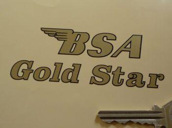 """BSA Gold Star Black & Gold Cut Text Sticker. 4""""."""