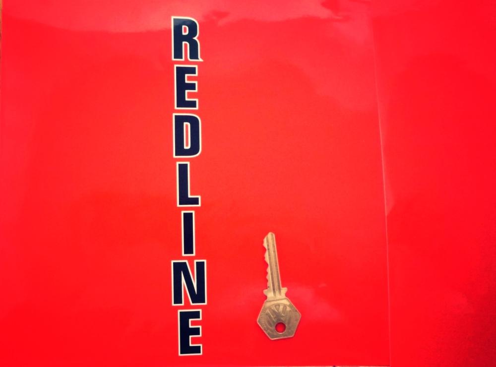 """Redline Cut Vertical Black & White Text Sticker. 8""""."""