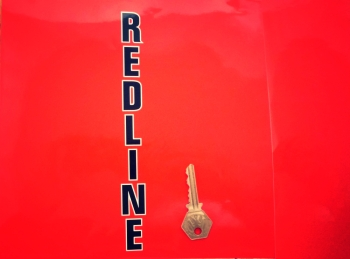 "Redline Cut Vertical Black & White Text Sticker. 8""."
