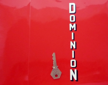 "Dominion Cut Vertical Black & White Shaded Text Sticker. 14"", or 22""."