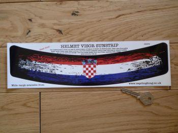 "Croatia Flag Worn & Distressed Style Helmet Visor Curved Sunstrip Sticker. 12""."