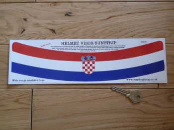 "Croatia Flag Helmet Visor Curved Sunstrip Sticker. 12""."