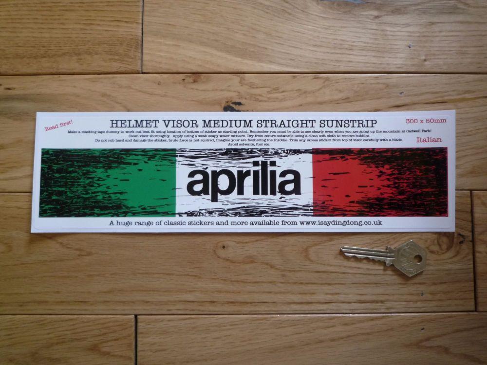"""Aprilia Worn & Distressed Helmet Visor Straight Sunstrip Sticker. 12"""". 50mm Tall."""