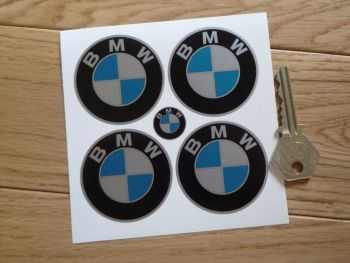 BMW Flat Colour Roundel Wheel Centre Stickers - Silver or Brushed Foil - Set of 4 - Various Sizes