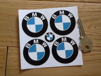 BMW Flat Colour Roundel White Wheel Centre Stickers. Set of 4. 45mm or 50mm.