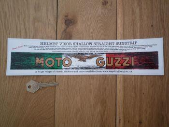 """Moto Guzzi Worn & Distressed Helmet Visor Straight Sunstrip Sticker. 12"""". 35mm Tall."""