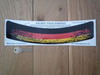 "Germany Tricolore Worn & Distressed Style Helmet Visor Sunstrip Sticker. 12""."