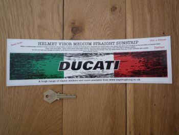 "Ducati Worn & Distressed Helmet Visor Straight Sunstrip Sticker. 12"". 50mm Tall."