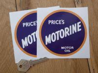 "Price's Motorine Motor Oil Stickers. 4"" or 6"" Pair."