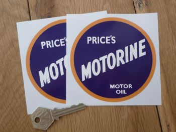 "Price's Motorine Motor Oil Stickers. 4"" or 6"" Pair."