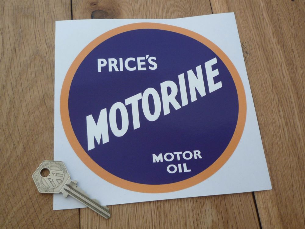 Price's Motorine Motor Oil Sticker. 6