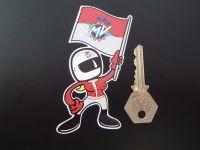 "MV Agusta Flag Waving Babe Sticker. 4""."