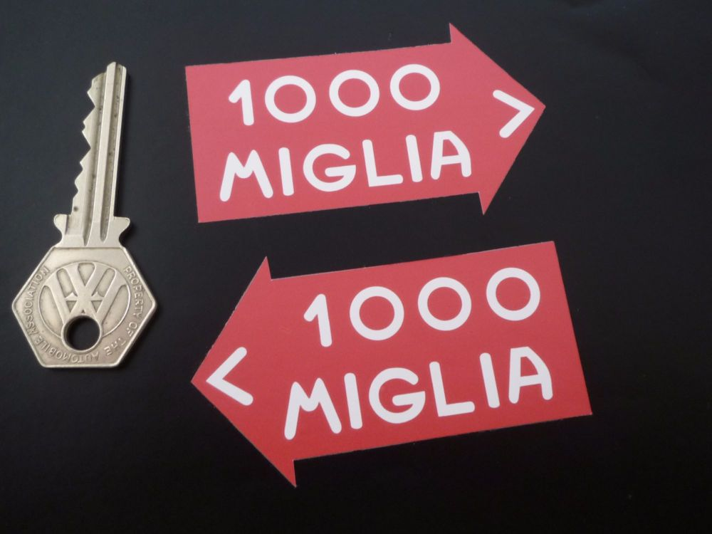 """Mille Miglia Directional Close Cut Style Stickers. 3"""" Pair."""