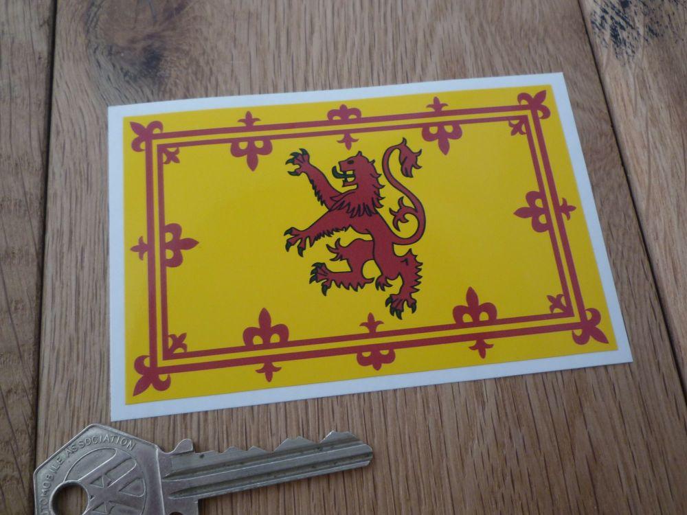 "Scottish Royal Standard Flag Sticker. 4""."