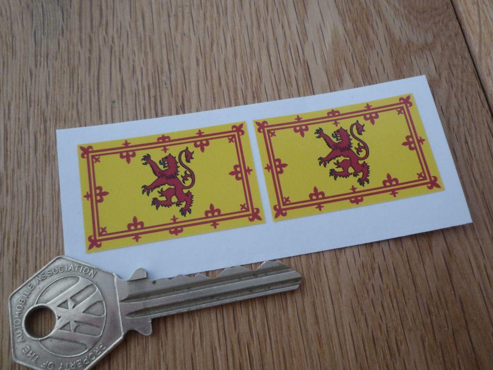 Scottish Royal Standard Flag Stickers. 40mm Pair.