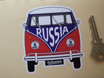 "Russia Federation Volkswagen Campervan Travel Sticker. 3.5""."