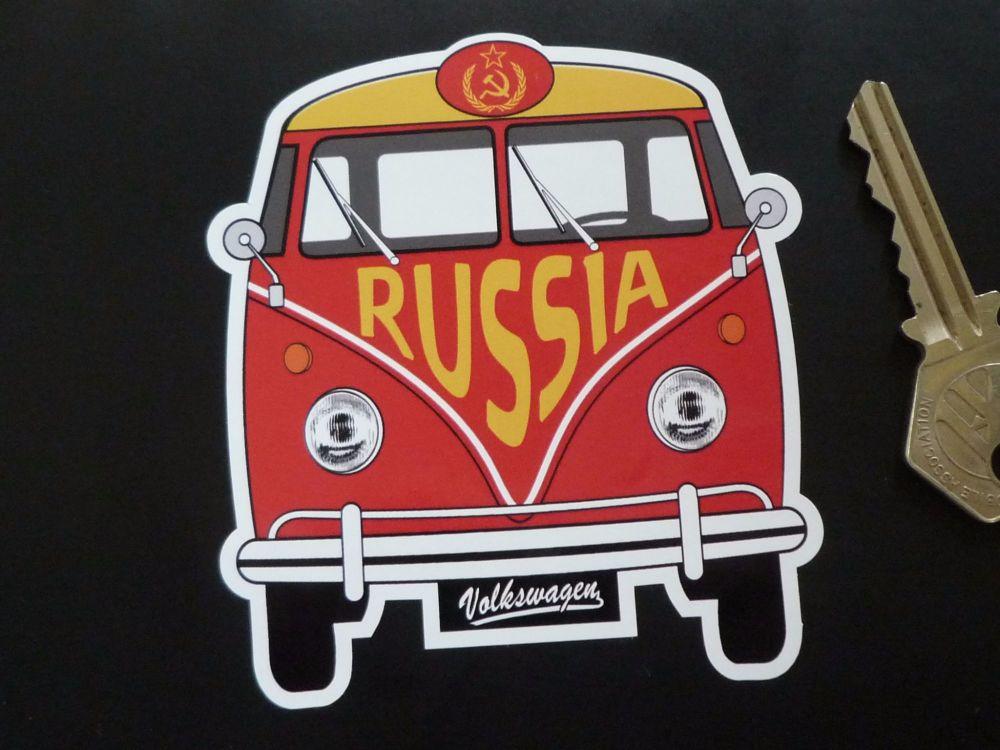 """Russia Soviet Union USSR Style Volkswagen Campervan Travel Sticker. 3.5""""."""