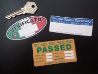 Scrutineers Inspection Stickers. Central Plains, Dry Lake, & Italian. Set of 3.