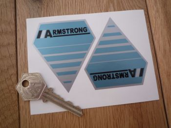 "Armstrong Shock Absorber Blue & Silver Shaped Stickers. 2.5"" Pair."
