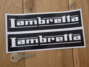 "Lambretta Black & White Oblong Stickers. 4"", 6"" or 8"" Pair."