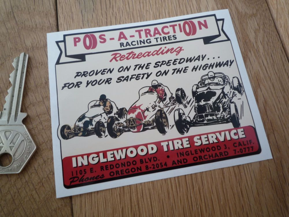 """Pos-A-Traction Racing Tires Inglewood Tire Service Sticker. 4""""."""