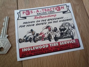 "Pos-A-Traction Racing Tires Inglewood Tire Service Sticker. 4""."