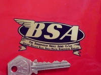 "BSA Birmingham Small Arms Oval & Banner Logo Sticker. 3.25"" or 4.75""."