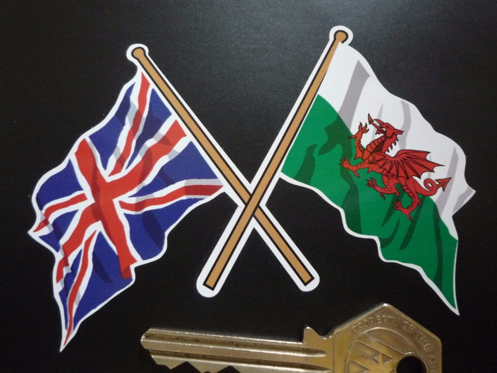 "Crossed Union Jack & Welsh Dragon Flag Sticker. 4""."
