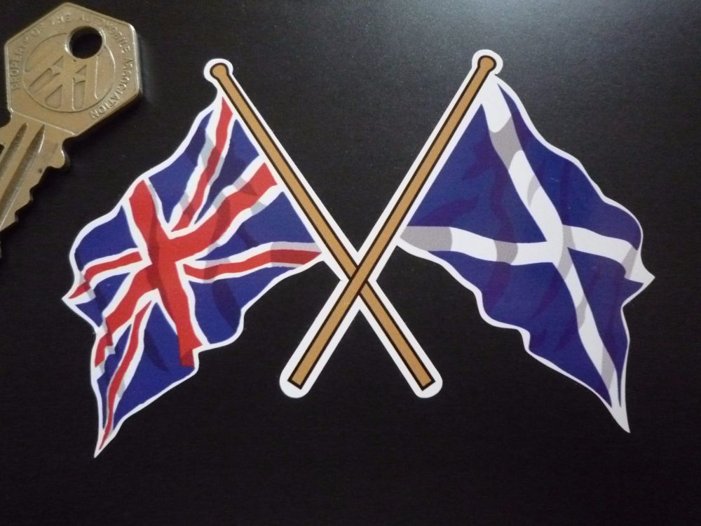 "Crossed Union Jack & Scottish Saltire Flag Sticker. 4""."