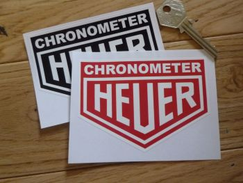 "Chronometer Heuer Stickers. 4"" or 5"" Pair."