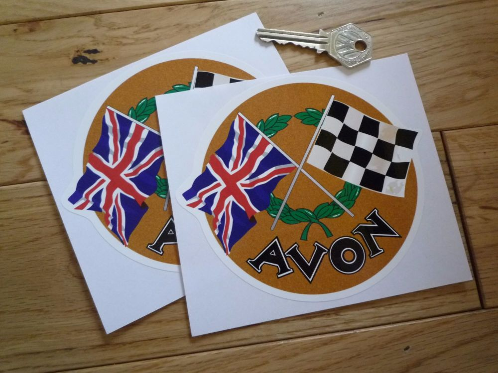 "Avon Crossed Flag Classic 50's & 60's Stickers. 1.75"", 3"" or 5"" Pair."