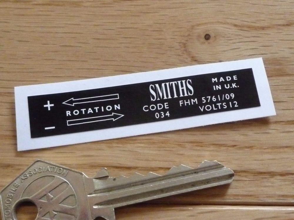Smiths Heater Label FHM 5761/09 Sticker. 65mm.