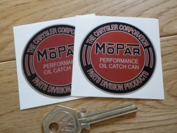 "Mopar Performance Oil Catch Can Red & Black Chrysler Stickers. 2.25"" Pair."