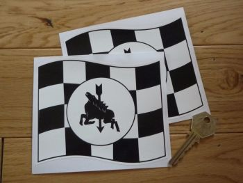 "Ferodo Chequered Flag Stickers. 5"" Pair."