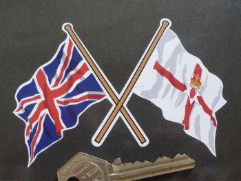"Crossed Union Jack & Northern Ireland Flag Sticker. 4""."