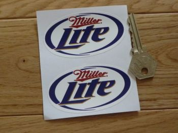 "Miller Lite Oval Stickers. 3"" Pair."