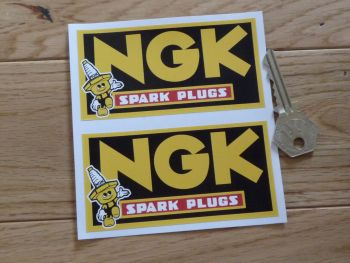 "NGK Spark Plugs Little Man Oblong Stickers. No Coachline Style. 4"" or 6"" Pair."