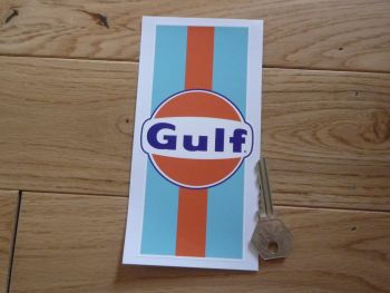 "Gulf Logo & Stripes Sticker. 6""."
