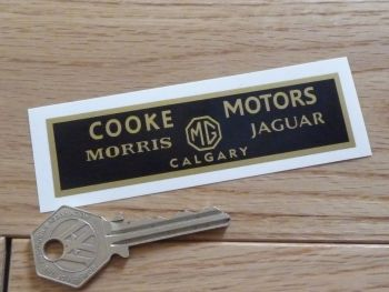"Cooke Motors Calgary. Morris, MG, Jaguar Dealers Sticker. 4""."
