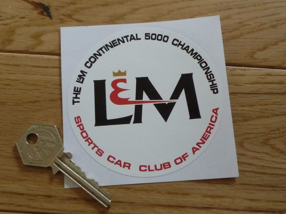 "Sports Car Club of America, L&M Continental 5000 Championship Sticker. 3.5""."