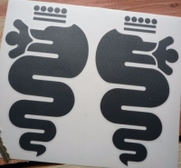"Alfa Romeo Serpent Stickers. Cut Vinyl. 16"" Pair."