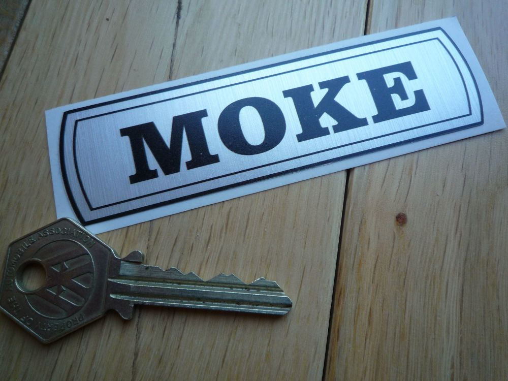 "Mini Moke Old Badge Style Thick Foil Sticker. 4""."