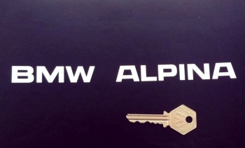 "BMW 'BMW Alpina' Older Style Cut Text Stickers. 8"" Pair."