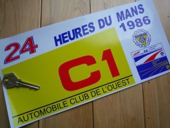 "24 Heures Du Mans LeMans Le Mans 1986 Group C1 Class Sticker. 12""."