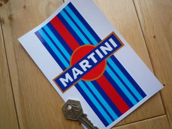 "Martini Logo and Stripe Sticker. 6""."