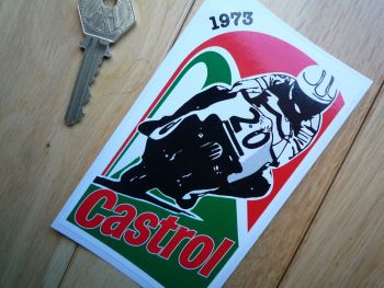 "Castrol Triumph Trident BSA Rocket 3 Rob North Race Bike 1973 Sticker. 5""."
