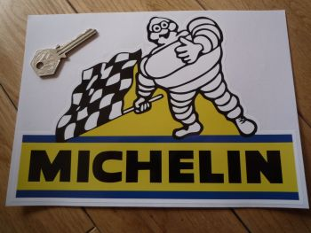 "Michelin Bibendum with Chequered Flag Sticker. 8.5""."