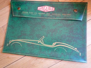 "Jaguar XK120 Green Document Holder/Light Toolbag for A4 size. 14""."