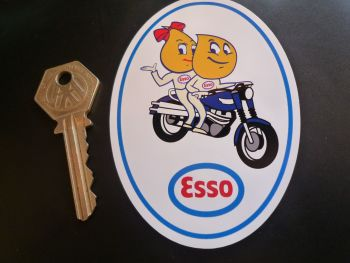 "Esso Oil Drip Couple Triumph Scrambler Sticker. 4""."